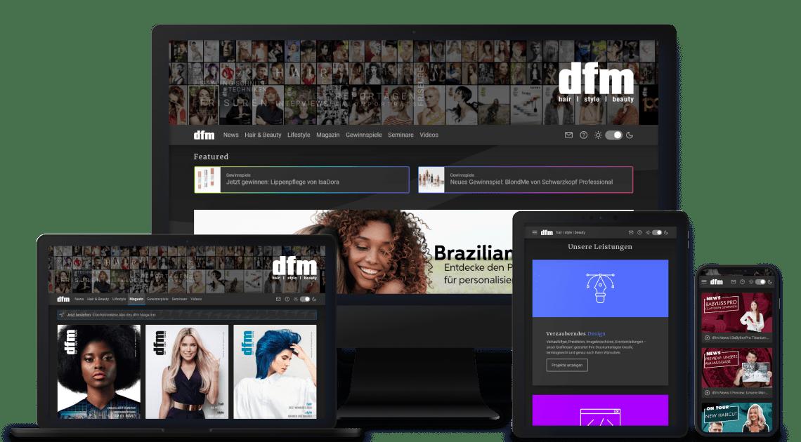 Device-Kollage mit dfm Webseiten Abbildungen