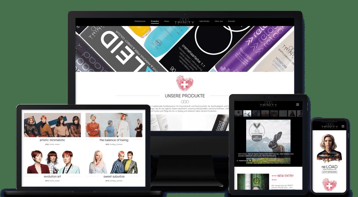 Device-Kollage mit TRINITY haircare Webseiten Abbildungen